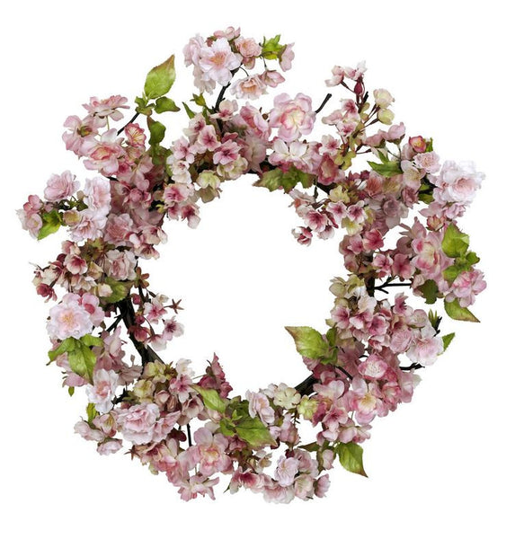 "Floral Summer Spring Home Decor 24"" Cherry Blossom Door Hallway Accent Wreath"
