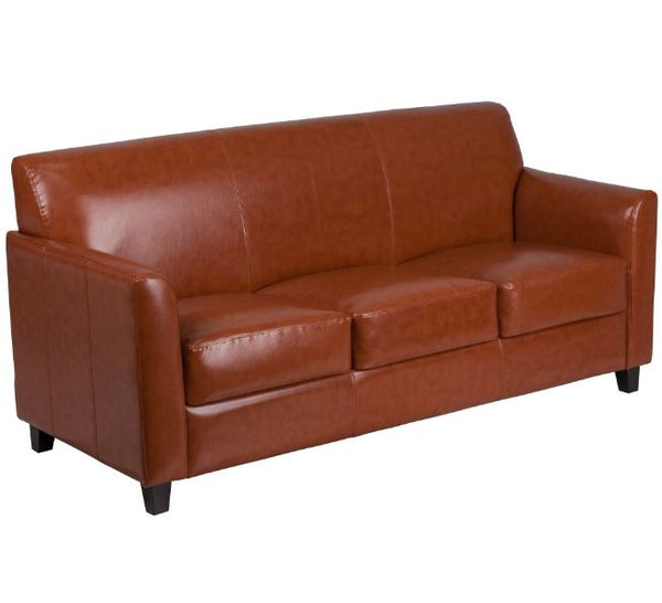 "70"" Length Contemporary Mid-Style Sofa with LeatherSoft Upholstery"