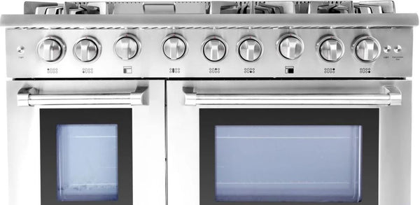 "48"" THOR KITCHEN Professional Double Oven All-Gas Convection Stainless Steel Range, Infrared Broiler"