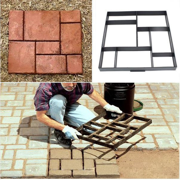Garden DIY Plastic Patio Paving Cement Yard Brick Stone Road Path Maker Mold