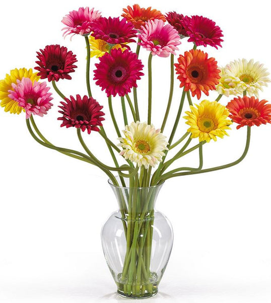 Gerber Daisy Artificial Floral Decoration Arrangement Silk Flowers and Vase