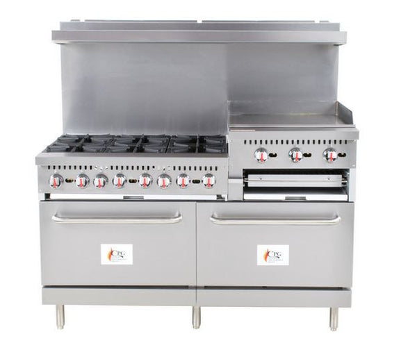 "Commercial 6 Burner 60"" Range with 24"" Griddle/Broiler and 2 Standard Ovens - 276,000 BTU"