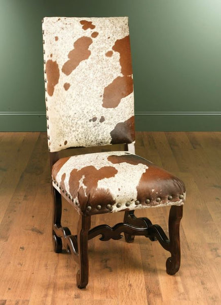 Nancy Cow Hide Chair - Dark Wood Finish