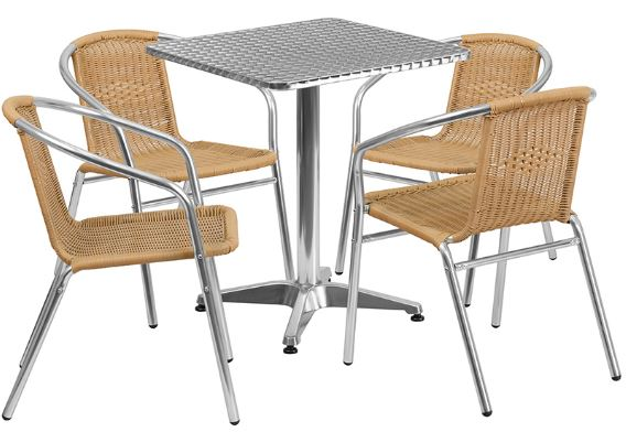 Aluminum Indoor-Outdoor Patio Square Table Set with Beige Rattan Chairs