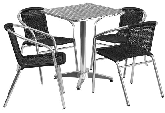 Aluminum Indoor-Outdoor Patio Square Table Set with Black Rattan Chairs