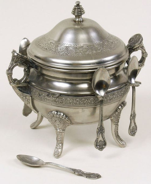 Pewter Victorian Sugar Pot with Six Spoons