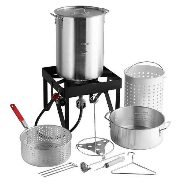Aluminum 30 Qt. Turkey Fryer Kit and Steamer Kit - 55,000 BTU