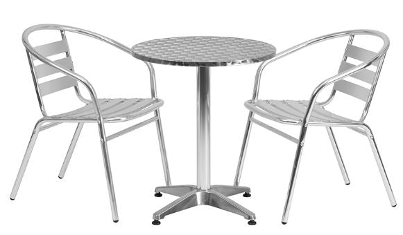 Polished Aluminum Indoor-Outdoor Patio Round Table Set with Slat Back Chairs