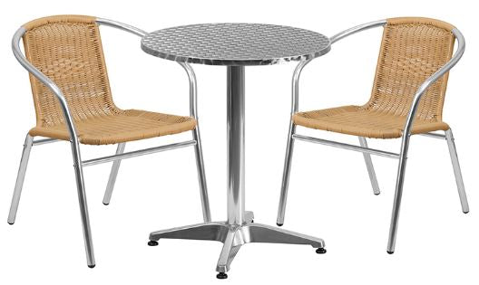 Aluminum Indoor-Outdoor Patio Round Table Set with Beige Rattan Chairs