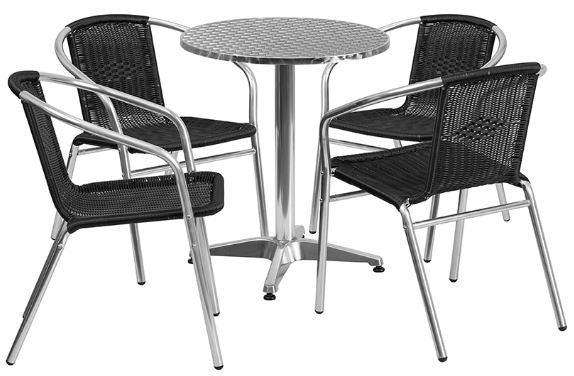 Aluminum Indoor-Outdoor Patio Round Table Set with Black Rattan Chairs