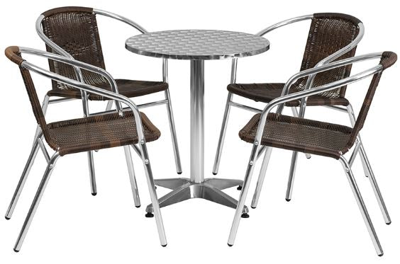 Aluminum Indoor-Outdoor Patio Round Table Set with Dark Brown Rattan Chairs