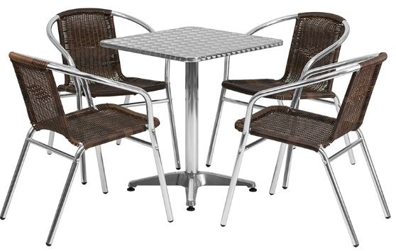 Aluminum Indoor-Outdoor Patio Square Table Set with Dark Brown Rattan Chairs