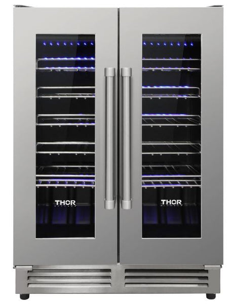 Thor Kitchen Stainless Steel French Door Dual-Zone 42 Bottle Wine Cooler Unit