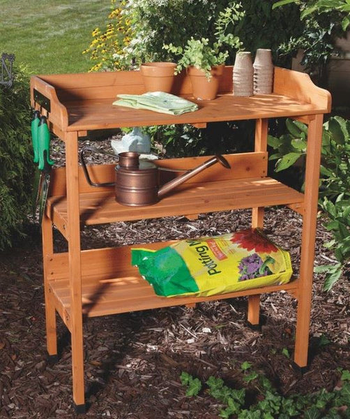 Sturdy Outdoor Patio Gardening Wood Potting Work Storage Bench Table Station