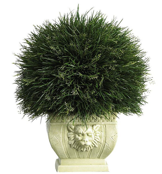 Artificial Potted Acorus Grass with White Vase for Indoor or Outdoor