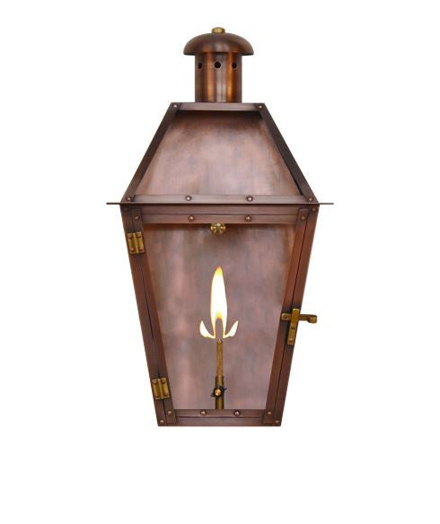 Antique Copper 18 in. Gas Outdoor Wall Lantern Flush Mount with Brass Hinges