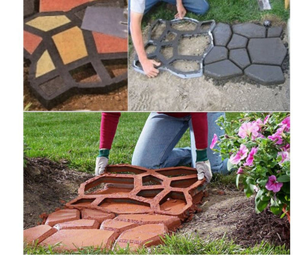 DIY Plastic Pathway Landscape Maker Mold Manual Paving Cement Brick Stone Road