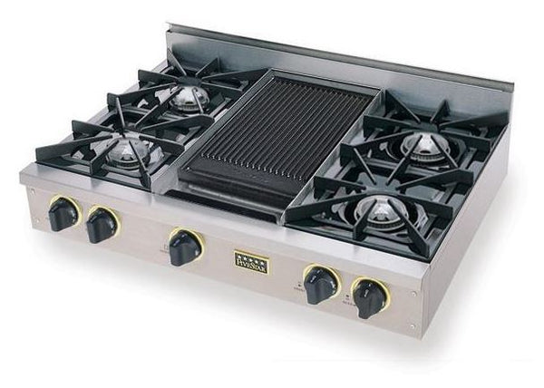 "36"" FiveStar Rangetop with Open Burners & Grill-Griddle, Continuous Grates in Stainless Steel"