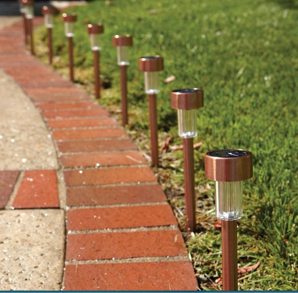 Solar Power Outdoor Sensor Copper LED Path Garden Landscape Lights - (10 Piece)