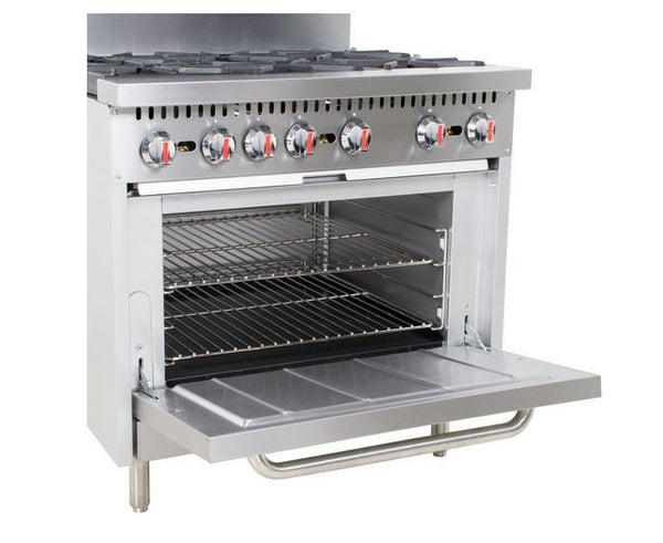 "Commercial Kitchen 6 Burner 36"" Range with Standard Oven - 210,000 BTU's"