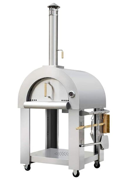 Outdoor Kitchen Stainless Steel Wood-Fired Pizza Firebrick Oven, Quick Heat