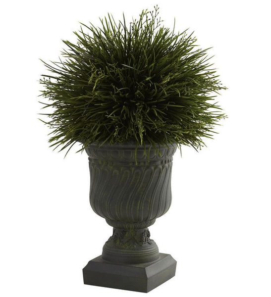 Artificial Grass & Decorative Accent Urn for Home Floral Office Patio Indoor or Outdoor
