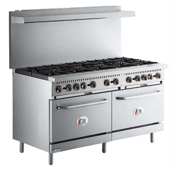 "Commercial Kitchen 10 Burner 60"" Range with 2 Standard Ovens - 360,000 BTU"