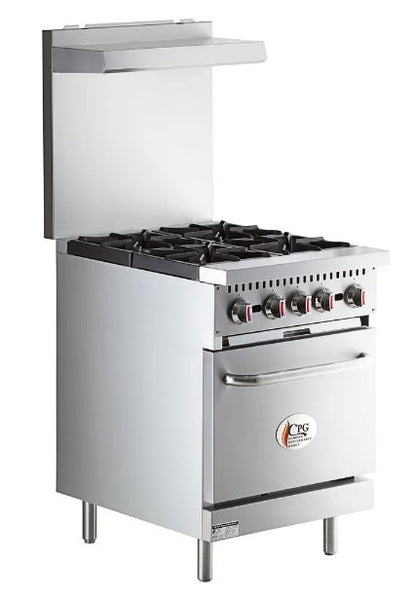 "4 Burner Space-Saving Commercial 24"" Range with Standard Oven - 150,000 BTU"