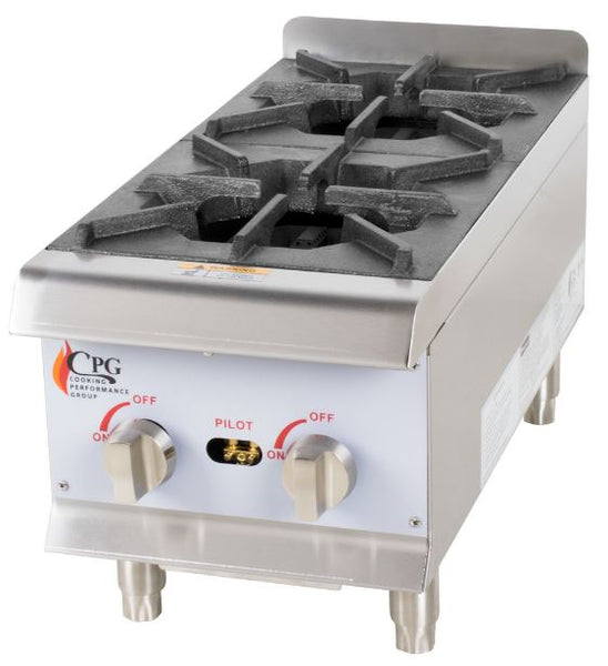 "12"" Food Truck or Commercial Kitchen 2-Burner Gas Countertop Range / Hot Plate - 44,000 BTU"