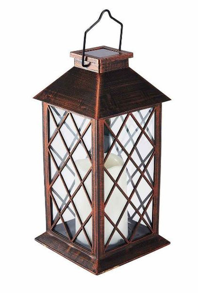 3-Pack Bronze Antique Finish Solar Flickering LED Candle Garden Patio Lantern
