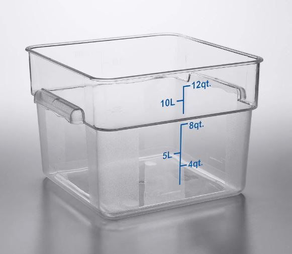 3-Pack Clear Square Commercial-Grade Food Storage Prep Containers with Gradations
