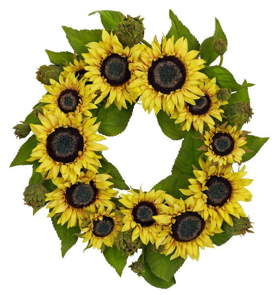 Yellow Sunflower Artificial Floral Home Decor 22 in. Door Accent Wreath