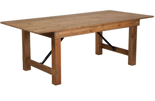 Rectangular Antique Rustic Solid Pine Folding Family Farm Table