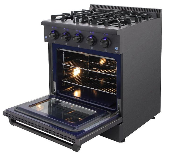 THOR KITCHEN 30 Inch Black Stainless Steel Gas Convection Freestanding Range