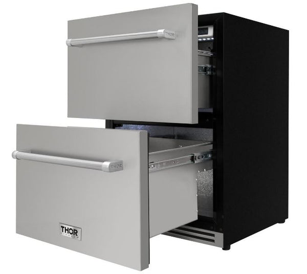 "Thor Kitchen 24"" Stainless Under-counter Indoor/Outdoor Double Drawer 5.3 cu. ft. Refrigerator"