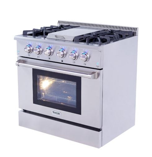 "36"" THOR KITCHEN Pro Stainless Steel Convection 5.2 cu. ft. Oven Gas Range, Griddle, Infrared Broiler"