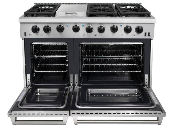 "48"" Stainless Thor Kitchen Convection, 6 Burners, Griddle Range LRG4801U"