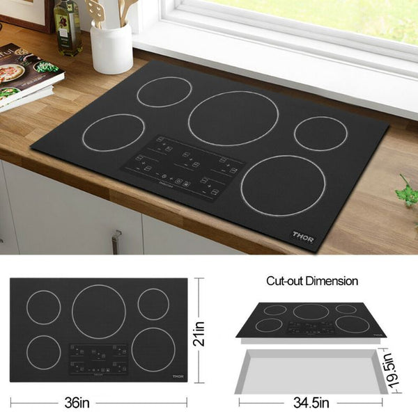"36"" THOR KITCHEN Black Five Burner Induction Cooktop"