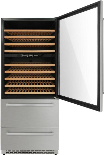 "Thor Kitchen Stainless 30"" Built-in/Freestanding Three Zone Wine Cooler with Drawers"