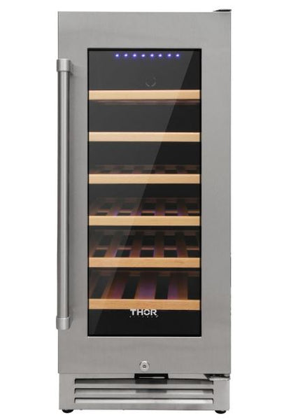 Thor Kitchen 33-Bottle Single Zone Built-in or Freestanding Stainless Wine Cooler