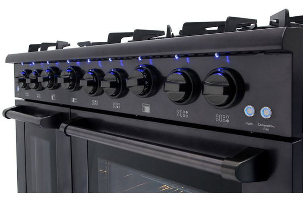 48 Inch THOR KITCHEN All-Gas Black Stainless Steel Range, 6 Burners, Griddle, Two Ovens