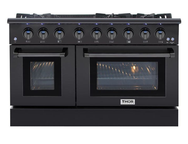 "48"" THOR KITCHEN All-Gas Black Steel Range, 6 Burners, Griddle, Two Ovens"