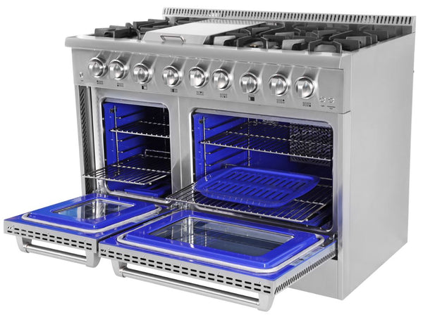"48"" THOR KITCHEN Professional Stainless Dual-Fuel Double Oven Convection Range with Griddle"
