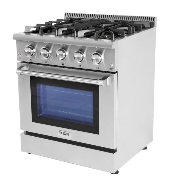 "30"" Thor Kitchen Stainless Steel Professional Style All-Gas Convection Oven Range, 4 Burners"
