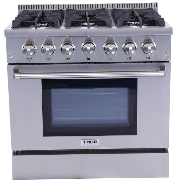 "36"" THOR KITCHEN Stainless Steel 5.2 cu. ft. Professional Convection Gas Range, Six Burners"