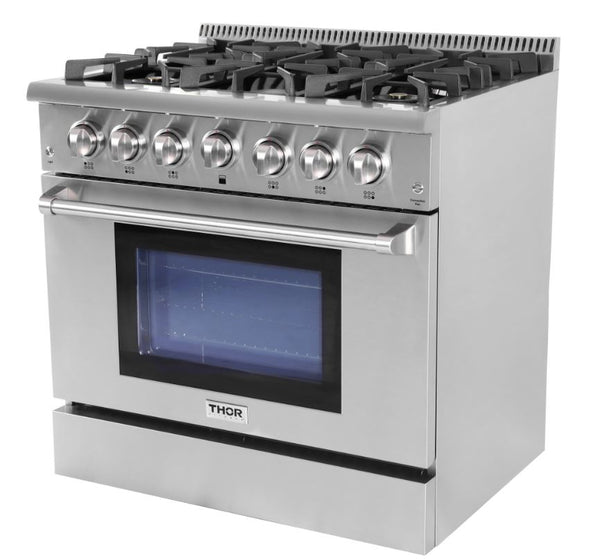 36 Inch THOR KITCHEN Stainless Steel 5.2 cu. ft. Pro-Style Convection Gas Range, Six Burners