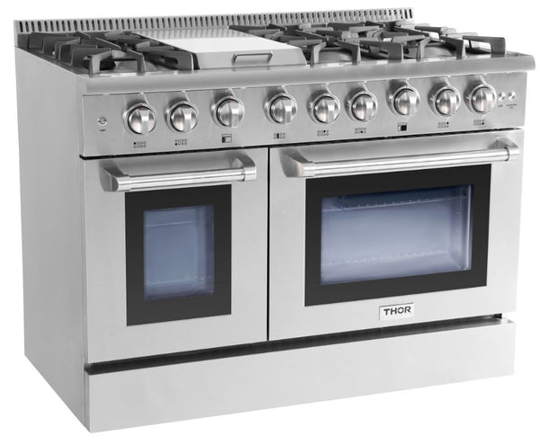 48 thor kitchen professional double oven all gas convection stainless steel range infrared - Thor Kitchen