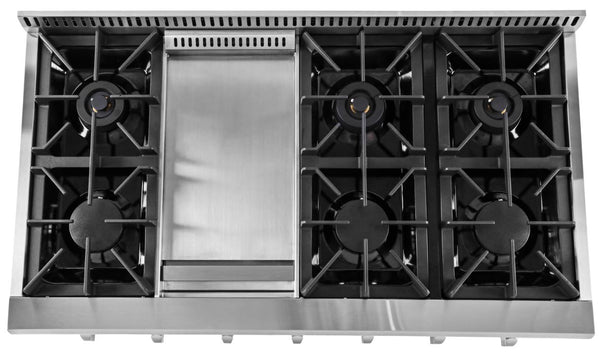 "Thor Kitchen 48"" Gas Rangetop Cooktop with 6 Burners and Griddle"