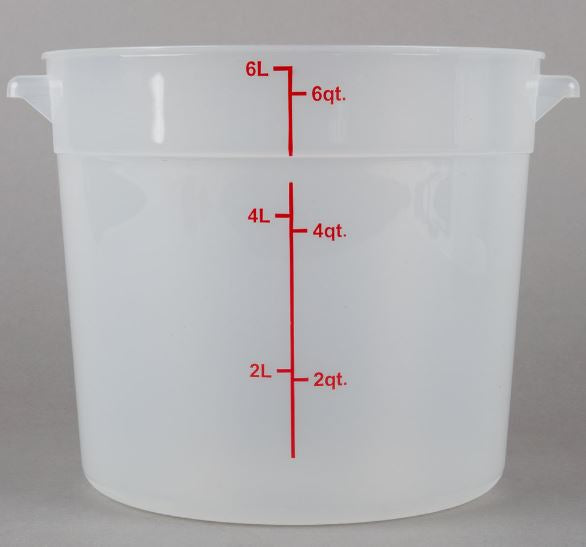 6-Pack Round Translucent Commercial Grade Kitchen Food Storage Prep Containers