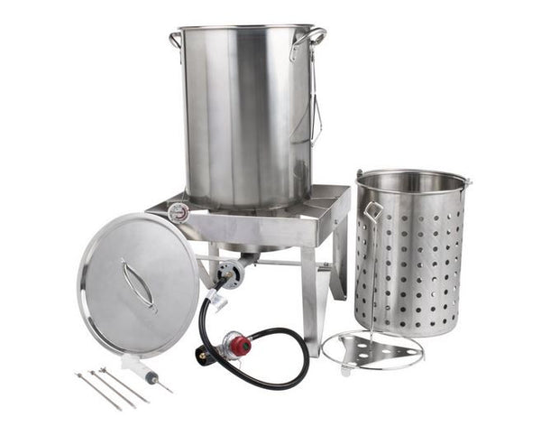 All Stainless Outdoor Propane 30 Qt. Turkey Deep Fryer Pot Kit, Seafood Steamer